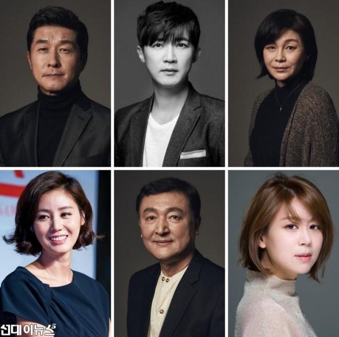 연극 미저리 캐스팅 사진(왼쪽 위부터)김상중, 안재욱, 길해연, 김성령, 고인배, 손정은.jpg