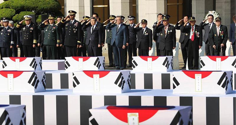 68년만에 조국의 품으로...북한지역 발굴 6·25 국군 전사자 유해 봉환